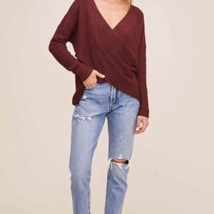 ASTR the Label Wrap Front Sweater Small Burgandy